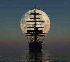 """Tall masted ship sailing into the moon. """"Second star to the right and straight on until morning"""""""