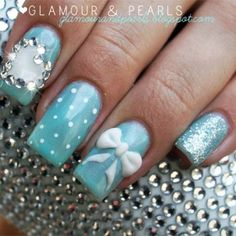 I like either just the bow or just the jeweled heart on the ring finger only. Wedding nails