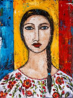 Romanian girl Canvas - Gallery wrap 1 - Acrylic Paintings Abstract Contemporary Figurative Folk Art, by ASIZA Painting Of Girl, Figure Painting, Romanian Girls, Canadian Art, Face Art, Figurative Art, Art Pictures, Fine Art Prints, Drawings
