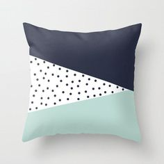 16x16 18x18 20x20 Pillow Cover: Triangles, Polka Dots, Mint, Navy, Blue, Colorful, Scandinavian, Modern, Abstract, Cushion, Minimalist