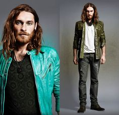 (02a) Lahti Collarless Motorcycle Biker Jacket - (02b) Lochabre Western Leather Jacket - Diesel 2013-2014 Fall Winter Preview Mens Collection: Designer Denim Jeans Fashion: Season Collections, Runways, Lookbooks and Linesheets