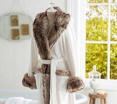 Cozy Fur Robe - Ivory/Caramel Ombre - potterybarn