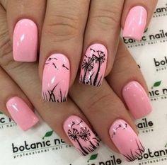 Creative Nail Designs - Cute Fall Nails - #fall, #pink, #black, #floral, #fun