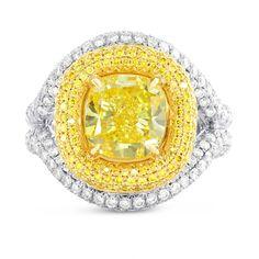 Fancy Vivid Yellow Cushion Diamond Halo Ring, (5.66Ct TW)