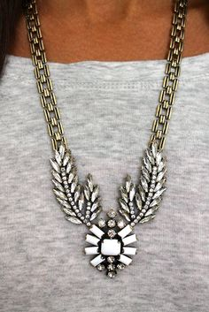 Accessory Concierge: Crystal Feather Medallion Necklace