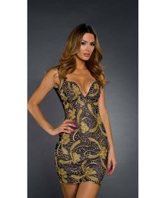 Roxanni  Brie Dress In Navy With Gold  By Holt Find More : http://www.imaddictedtoyou.com/