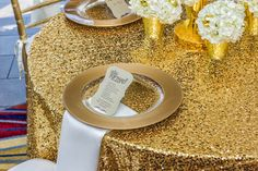 Ordered sequin table cloth for gift and cake tables... Hope it looks as nice as this when I receive it.   http://www.tableclothsfactory.com/