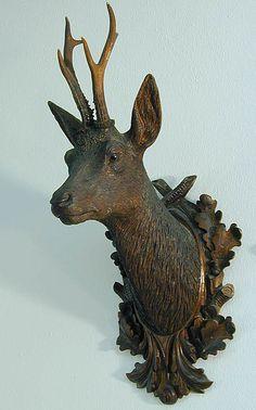 wonderful antique black forest carved wood deer head