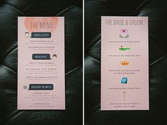 On the back of the menu - an illustrated timeline of our relationship, or use as part of a timeline wedding invitation