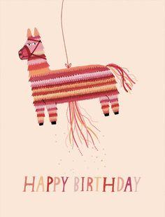 piñata birthday card by ybryksenkova on Etsy