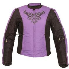 Xelement Women's CF-2366B2 Purple Armored Tri-Tex Jacket with Reflective Tribal Graphics - maybe my new motorcycle jacket?