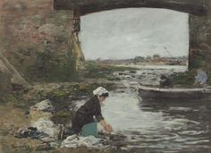 Laundress at the Bank of the Touques, 1883. Eugene Boudin