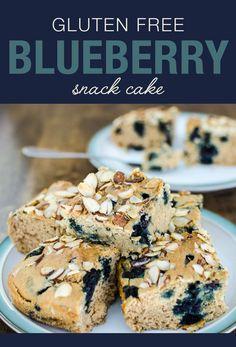 Gluten Free Blueberry Snack Cake - you mix it and bake it in the same pan!   VeggiePrimer.com #vegan #glutenfree #cake #blueberries