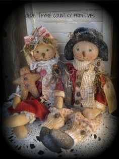 Primitive Olde Winter Snow girl Doll~Gingerbread doll #NaivePrimitive