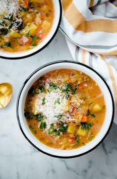 Slow Cooker Winter Vegetable Soup with Split Red Lentils - an EASY, healthy crock pot vegetarian soup that requires no cook time and is packed with fresh vegetables and red lentils!