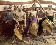 Ca.1898-1907. Group of Sumo Wrestlers with Ceremonial Garb