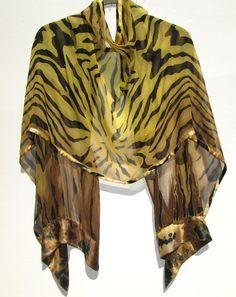 JUNGLE PRINT Silk Wrap Hand Painted Original Wild Animal Zebra