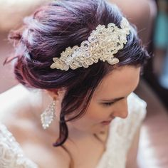 Beautiful bride Sarah wearing our handmade lace hair band! Thank you for sharing!