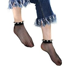 6fad66994 Rosennie Fashion Trends Socks Women Lace Pearl Fishnet Net Plain Top-Ankle  Short Socks Stylish