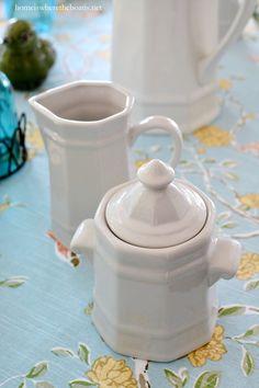 Pfaltzgraff Heritage cream and sugar | homeiswheretheboatis.net #tablescape