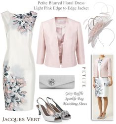 Jacques Vert petite Mother of the Bride outfits in pink and grey matching…