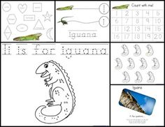 I is for Iguana - lots of activities - tracing, matching, colouring, counting...