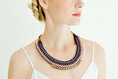 Ethnic Statement Necklace, Crochet Necklace, Collar Necklace, High Fashion, Tribal Bib, Ibiza Style Necklace, Blue and Orange Red