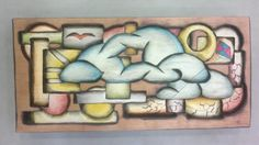 """Projeto """"Nuvem"""". Peça entalhada e pintada a mão em cedro(À venda)"""