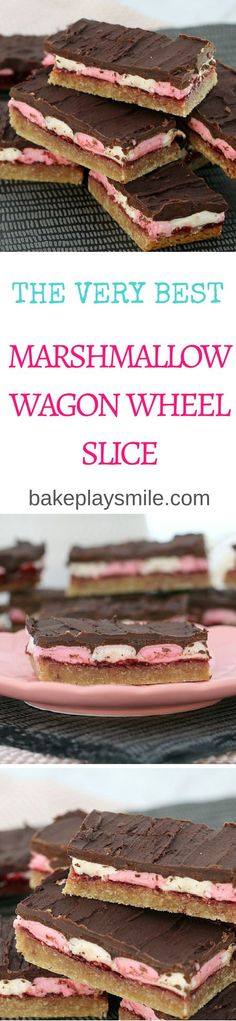 This easy Marshmallow Wagon Wheel Slice will have you coming back for more and more! A yummy base covered in raspberry jam, marshmallows, and of course, chocolate!  #wagon #wheel #slice #bars #recipe #chocolate #marshmallow #easy #thermomix #conventional