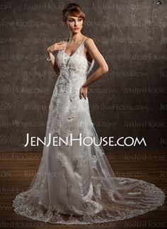 Wedding Dresses - $186.99 - A-Line/Princess V-neck Court Train Satin Tulle Wedding Dress With Lace (002011633) http://jenjenhouse.com/A-Line-Princess-V-Neck-Court-Train-Satin-Tulle-Wedding-Dress-With-Lace-002011633-g11633