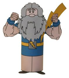 zeus craft - print out the template, color & attach to toilet paper roll Percy Jackson, Free Printable Gift Certificates, Greek Crafts, Roman Gods, Egg Carton Crafts, Toilet Paper Roll Crafts, Greek Art, Greek Gods, Paper Toys