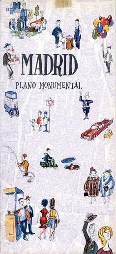 portada con dibujos de plano de madrid, años '60, escenas típicas.