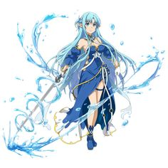 The water Asuna is so pretty and I love the freaking a outfit it's cute and amazing