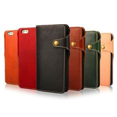 Cowhide Leather Mobile Phone Case for IPhone 6 6S 4.7 / 6 6S Plus 5.5 Inch Wallet Cover Cases for Apple IPhone6 with Card Slot