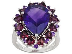 7.74ctw Pear Shape And Round African Amethyst With 3.60ctw Trillion Rhodolite S/S Ring Erv $174.00