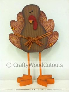 Standing Turkey Thanksgiving Wood Craft from Crafty Wood Cutouts New Crafts, Fall Crafts, Holiday Crafts, Home Crafts, Thanksgiving Wood Crafts, Thanksgiving Decorations, Fall Decorations, Unfinished Wood Crafts, Wooden Crafts