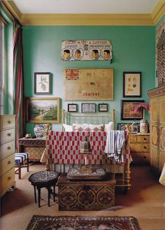 ⋴⍕ Boho Decor Bliss ⍕⋼ bright gypsy color & hippie bohemian mixed pattern home decorating ideas - Peter Hinwood's London Bedroom, WoI 2008