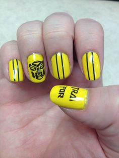 Transformers Bumblebee Nails Transformers Birthday Parties, Transformer Birthday, Cute Nail Art, Cute Nails, Bumble Bee Nails, Transformers Bumblebee, Disney Nails, Nail Tips, Hair And Nails