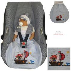 """Baby Pucksack """"Pirat"""" Vichy Hellblau von me Kinderkleidung und ersatzbezuege auf DaWanda.com"""