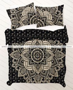 Twin Mandala Bedding Duvet   https://fairdecorofficial.tumblr.com/post/166771427798/twin-size-black-gold-floral-boho-mandala-bedding