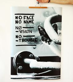 Plakat - NO TROUBLE - print + paint 70x100