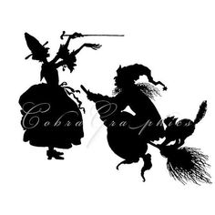 Witch Silhouettes - Digital Collage Sheet CG-272 for Scrapbooking, Gift Cards…