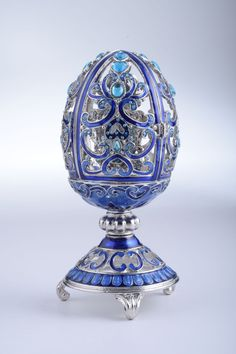 Silver & Blue Faberge Egg Trinket Box with a Clock by KerenKopal