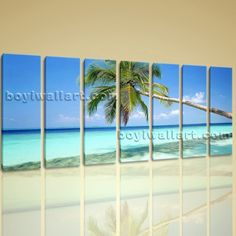 "Large Stretched Canvas Prints Sunny Caribbean Beach Palm Tree Landscape Wall Art Extra Large Wall Art, Gallery Wrapped, by Bo Yi Gallery 76""x36"". Large Stretched Canvas Prints Sunny Caribbean Beach Palm Tree Landscape Wall Art Subject : Beach Style : Photography Panels : 7 Detail Size : 10""x36""x7 Overall Size : 76""x36"" = 193cm x 91cm Medium : Giclee Print On Canvas Condition : Brand New Frames : Gallery wrapped [FEATURES] Lightweight and easy to hang. High revolution giclee..."