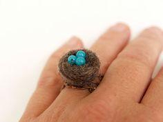 too cute ;)Robins Nest Ring wool felt jewelry woodland inspired by Fairyfolk, $20.00