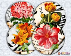 FLORAL SHABBY CHIC  Digital Collage Sheet by KARTINKAshop on Etsy, $4.50