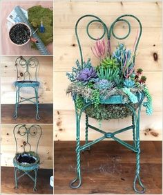 15 Unique Ways to Display Succulents Best Picture For fake succulent For Your. 15 Unique Ways to D Succulents In Containers, Succulents Garden, Bird Cage Centerpiece, Succulent Display, Chair Planter, Garden Junk, Diy Planters, Garden Chairs, Diy Garden Decor