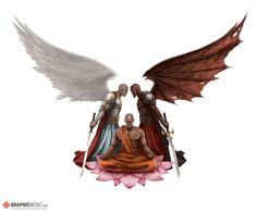 Angel and Demon tattoo design Demon Tattoo, Angels And Demons, Bb, Tattoo Designs, Angeles, Illustrations, Animals, Ideas, Tatoo