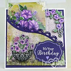 Petunia Birthday Shaker Card w/ Classic Petunia collection from Heartfelt Creations. #heartfeltcreations