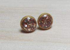 7 mm Gold Glass Glitter Round Studs Hypoallergenic by ColorfulClay